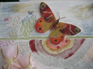 detail:  butterfly & flowers