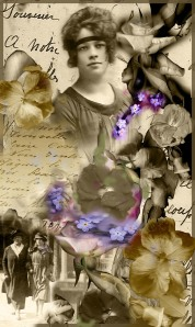 Digital collage -  love letters and postcards from the 1920s and  garden flowers